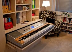 Secret storage piano. (Check out the source link to see it hidden instead of pulled out.)