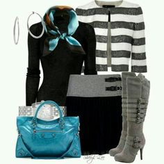 Falda y botas grises