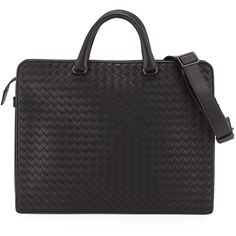 Bottega Veneta Intrecciato Calf Leather Briefcase (41.904.460 IDR) ❤ liked on Polyvore featuring men's fashion, men's bags, men's briefcases and black