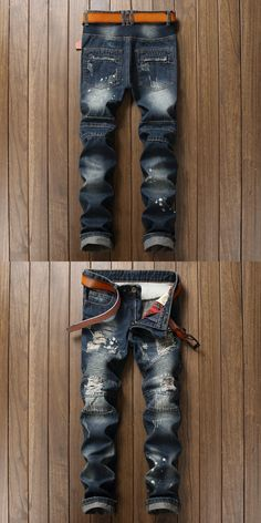 Mens Overalls Jeans Light Blue Vintage designer Casual Hole Ripped Jeans Mens Fashion Denim Pants Silm Fit Male