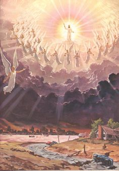 For the Lord himself shall descend From heaven with a shout, with the voice of the archangels, and with the trump of God, the dead in Christ shall rise first: 1 Thessalonians Pictures Of Jesus Christ, Religious Pictures, Jesus Art, Jesus Is Coming, Prophetic Art, Biblical Art, Jesus Is Lord, Christian Art, Pictures Images
