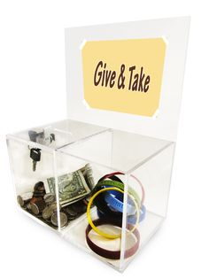 Give&Take Donation Box! #donationbox #fundraisingidea Create your online fundraising campaign at http://gogetfunding.com