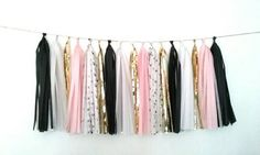 Black white pink and gold tassel garland  black by GLAMLovePARTIES