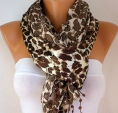 Leopard Women Shawl Scarf  Headband Necklace Cowl with by fatwoman, $19.00