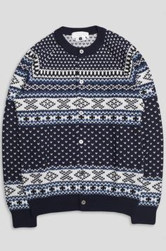 Ganryu's cardigan features ribbed details, button closure and the fair isle pattern throughout. Product Information: Product Code: Color: Navy Material: Wool Blend Fair Isle Pattern, Navy And White, Wool Blend, Christmas Sweaters, Blue, Color, Products, Fashion, Moda