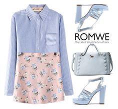 """Romwe ~pink and blue~"" by gabygirafe ❤ liked on Polyvore featuring Pink, Flowers and blueshoes"