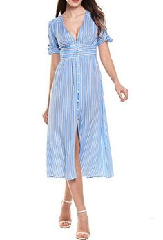 Zeagoo Women's Short Sleeve Button Up Split Striped Midi Dress Long Dresses