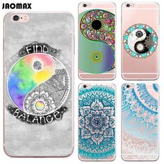 Funny Color Yingyang Mandala Flower Case For iPhone 6 Plus 6s Plus Transparent Clear TPU Cell Phone Cases