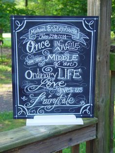 Fairytale Wedding Chalkboard Art Sign for you Wedding or event Sign  Unframed 16 x 20