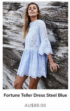 Fortune Teller Dress Steel Blue Fortunate One Abaya Fashion, Boho Fashion, Fashion Dresses, Lace Dress Styles, Dresses For Tweens, Boho Chic, Western Dresses, Babydoll Dress, Cotton Dresses