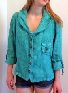 Elisa Cavaletti Italy Jacket Linen Artsy Lagenlook Womens L Turquoise Gorgeous!