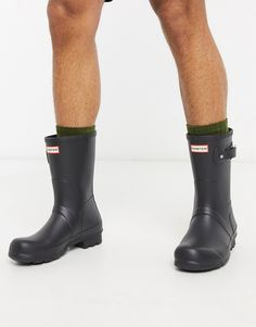 Rain boots by Hunter This item is excluded from promo Hunter logo to front Toe-cap detail Adjustable side buckle Textured ridge tread Asos, Textiles, Hunter Logo, Hunter Original, Wellington Boot, Dog Walking, Hunter Boots, Best Dogs, Rubber Rain Boots