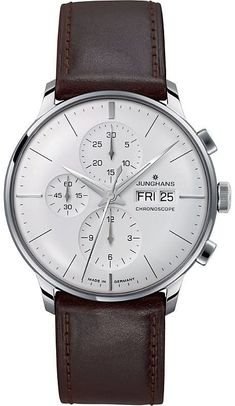 Junghans 027/4120.01 meister stainless steel and leather chronoscope watch #BestMensWatches