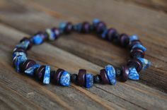 Men's Stretch Bracelet  Wood Lava and Lapis Lazuli by BoulderBeads