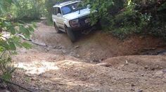 1997 Toyota Land Cruiser Off Road Crossing a ditch, showing off the front locker. Land Cruiser 80, Toyota Land Cruiser, Locker, Offroad, 4x4, Off Road