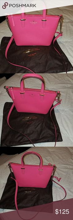 "Kate spade small harmony crossbody Like new worn once!  Very fun vibrant coral color perfect for spring and summer!  No stains no signs of wear at all!  7'h x 11.1'w x 3.7'd.  drop length: 4"" handle, 22"" cross-body strap. kate spade Bags Crossbody Bags"