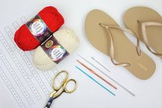 "Learn how to make crochet espadrilles with flip flop soles in this free pattern and tutorial from Make and Do Crew! These crochet sandals feature Lion Brand Cotton in ""Red. Crochet Shoes Pattern, Crochet Baby Shoes, Shoe Pattern, Crochet Slippers, Crochet Patterns, Crochet Hats, Crochet Flip Flops, Make And Do Crew, Crochet Sandals"