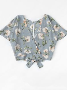 Floral Print Split Back Crop TopFor Women-romwe Girls Fashion Clothes, Teen Fashion Outfits, Boho Outfits, Trendy Outfits, Girl Outfits, Girl Fashion, Cute Lazy Outfits, Girls Summer Outfits, Crop Top Outfits