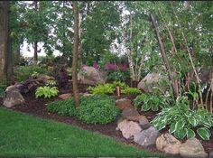 100_1689 Shade Garden, Landscape Design,Hosta,Astble, Heuchera, Gardens, Landscaping, Rock Garden. Photo by Rick
