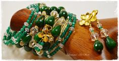 "Emerald & Dark green Jewelry set ""Izabella"" by Charisma Art Store, wide memory - bracelet and earrings, agate, glass beads. by CharismaArtStore on Etsy"
