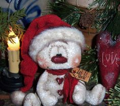 "Primitive Frosty Valentine Winter Ornie 5"" Snowman Bear Doll Vtg Patti's Ratties"