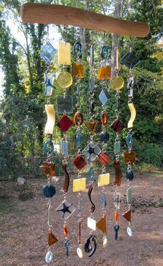Sea Blue Starfish: Large Glass Mobile / Wind Chime featuring Stained Glass and Fused Glass (approx 1 Driftwood Projects, Diy Art Projects, Cut Glass, Glass Art, Driftwood Mobile, Glass Wind Chimes, Bead Crochet Rope, Stained Glass Projects, Diy Solar