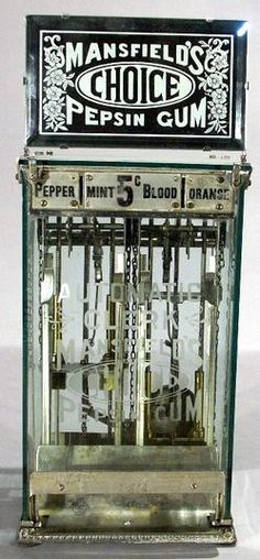 Mansfield's Choice Pepsin Gum, Glass Case, Marquee, 5 Cent. A Mansfield's Automatic Clerk Choice Pepsin Gum vending machine with marquee