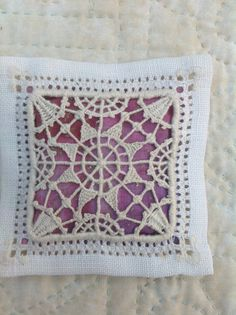 Ruskin Lace lavender sachet, drawn thread work ~ uploaded by Debbie Irving