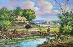 Landscape by Gonzales Art Philippines Oil Painting Art Village, Easy Watercolor, Watercolour Painting, Oil Pastel Drawings, Art Drawings, Filipino Art, Philippine Art, Love Art, Painted Rocks