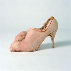 Birgit Jürgenssen 'Pregnancy Shoe' (1976) leather, wood, tull, lace, 25 x 10 x 18 cm