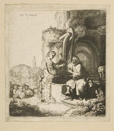 Rembrandt - Christ and the Woman of Samaria among Ruins (Baterby's)