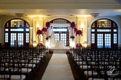 Gorgeous chupah for the ceremony in the ballroom. Photography by Adam Nyholt, Photographer.