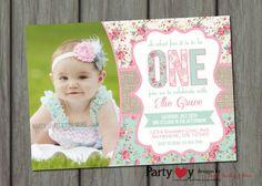 Shabby Chic Birthday Invitation Girl First Birthday Invitation