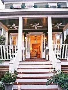 Wow fans on porch Southern Comfort, Southern Living, Southern Charm, Southern Style, Southern Hospitality, Southern Cottage, French Cottage, Cottage Style, Home Porch
