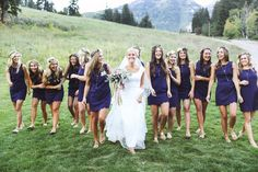 TESSA BARTON: Wedding, navy scalloped bridesmaids dresses with flat sandals