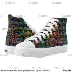 Shop kaleidoscope lens melt gold multicolor High-Top sneakers created by PAYSMAGE. Shoe Art, Custom Sneakers, On Shoes, Designer Shoes, High Tops, High Top Sneakers, Your Style, Lens, Web 2