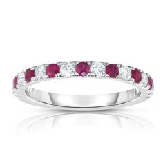 Noray Designs 14k White Gold Ruby and 1/3ct TDW Diamond Ring (G-H, I1-I2) (Ring Size 8), Women's, Red