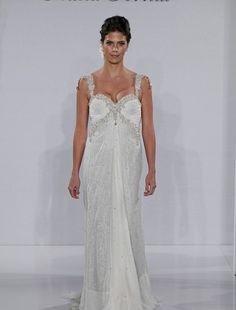 Bridal Gowns: Pnina Tornai Sheath Wedding Dress with V-Neck Neckline and Empire Waist Waistline