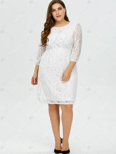 Plus Size Empire Waist Lace Knee Length Dress - WHITE 4XL