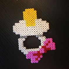 Pacifier hama perler beads by Perler Beads, Fuse Beads, Pearler Bead Patterns, Perler Patterns, Tapestry Crochet Patterns, Beads Pictures, Iron Beads, Melting Beads, Beaded Cross Stitch