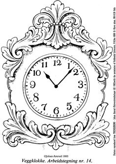 clock in this article is a traditional design taken from the Norwegian master carver Johan Amrud You may have to adjust the pattern to suit your clock mechanism - in my case a diameter face - so that the face will fit wi Wood Carving Designs, Wood Carving Patterns, Royal Icing Templates, Alice In Wonderland Tea Party Birthday, Diy Clothes And Shoes, Fancy Watches, Wood Burning Crafts, Chip Carving, Wood Clocks