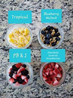 Overnight Oats, 4 Ways - Noshing to Talk About Overnight Oats Greek Yogurt, Strawberry Overnight Oats, Overnight Oatmeal, Oatmeal Recipes, Snack Recipes, Snacks, Breakfast Recipes, Weight Watchers Oatmeal Recipe, Macro Friendly Recipes