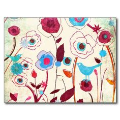 Colorful Spring Flowers Birds Mulberry Blue Orange Postcards