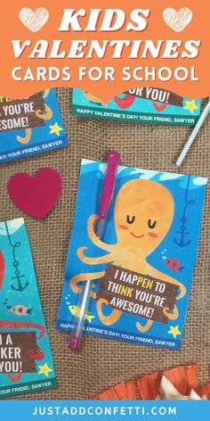 "These cute octopus kids valentines are perfect for school and Valentine's Day classroom parties. The DIY printable valentine cards come in two color and wording choices, for both candy and no food valentine options. Attach a lollipop to the ""I'm a sucker for you"" design and a pen to the ""I hap'pen' to th'ink' you're awesome"" design. The printables are available in my Just Add Confetti Etsy shop. Also, be sure to head to justaddconfetti.com for even more easy kids valentines and party ideas."