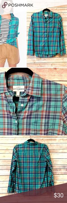 "J. Crew plaid boy fit button down shirt J. Crew boy fit button down. No condition issues. Turquoise blue/green plaid. Darts. Cotton. Length from shoulder is about 24"". Armpit to armpit flat is 19"". Stock pic used to show fit. J. Crew Tops Button Down Shirts"