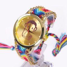 Duha Ženeva Watch Ženy Malá Funny Monkey hodinky Lace Chain Braid Reloj Girl Teen děti Fabric Retro Etnický (Čína (pevninská část))