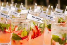Cute if you hand out a special drink before ceremony with table assignments Kauai + Secret Beach Wedding