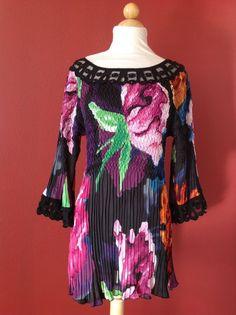 ALBERTO MAKALI Floral Multi Colored Crinkle Tunic Top Size L  #ALBERTOMakali #Tunic #Casual