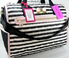 Betsey Johnson XL Tote Duffle Weekender Bag Carry On Luggage Satchel Hearts NWT #BetseyJohnson #TotesShoppers