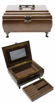 Ékszertartó doboz, ékszerdoboz lábakkal és tükörrel